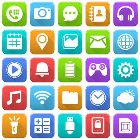 Iconos móviles, medios sociales, aplicaciones móviles, Internet Foto de archivo - 48097079