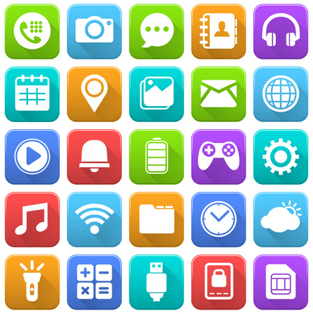 Mobile Icons, Social Media, Mobile Application, Internet Çizim