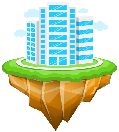City, Floating Island, Buildings, Landscape Ilustracja