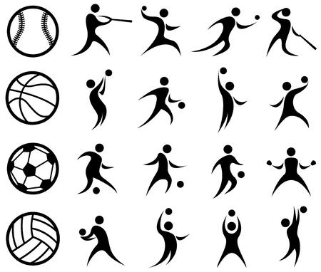 スポーツ シルエット、バスケット ボール、野球、サッカー、バレーボール