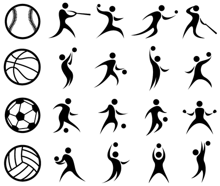 Sports Silhouette, Basketball, Baseball, Soccer, Volleyball