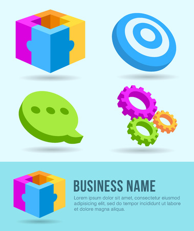 Business Icons, Banner, Design Element, Marketing Ilustracja
