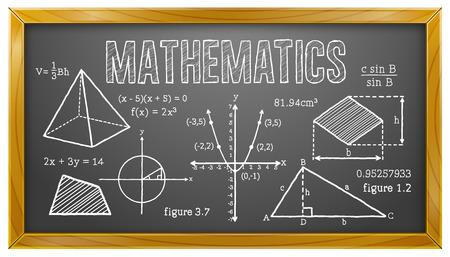 Matemáticas, Álgebra, Geometría, Trigonometría, Pizarra Foto de archivo - 48097411