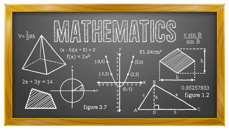 Mathematics, Algebra, Geometry, Trigonometry, Blackboard Stock Vector - 48097411