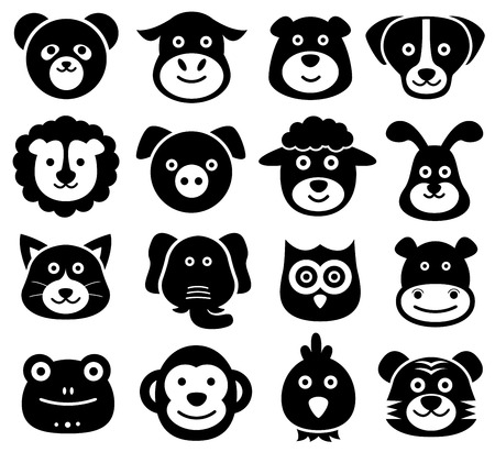 Animal Faces, dier iconen, Silhouettes, Zoo, Natuur Stock Illustratie