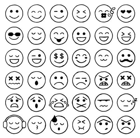 Smiley Icons, Emoticons, Facial Expressions, Internet Zdjęcie Seryjne - 48097451