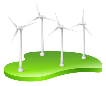 Wind Turbine, Wind Power, Renewable Energy Ilustracja