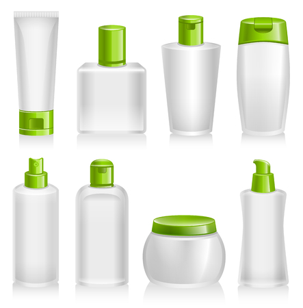 product packaging: Cosmetic Products, Organic, Natural, Product Containers Illustration