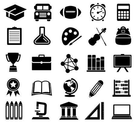 Education, School, Icons, Silhouettes
