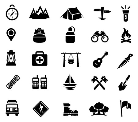 Camping, Outdoor Activity, Recreation, Icons