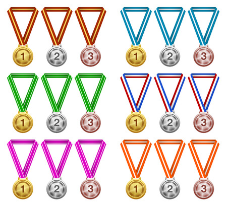 Medals, Award, Success, Champion Ilustracja