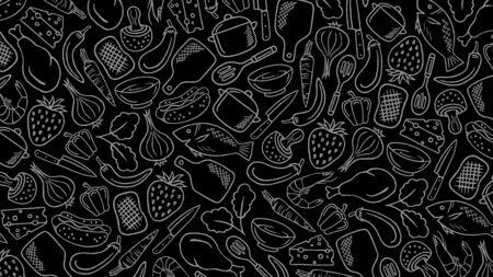 Food, Kitchen, Cooking Doodle Background