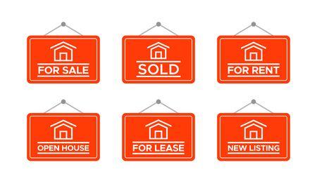 Real Estate Signs, House For Sale Illustration