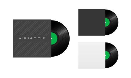 Vinyl Record Album Cover, Retro Music Illustration
