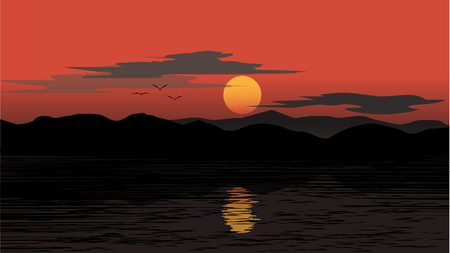 sunset upon the lake