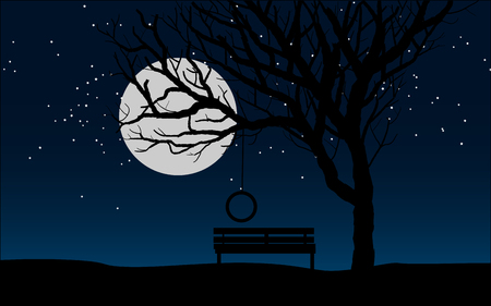 bench at the tree in the moonlight