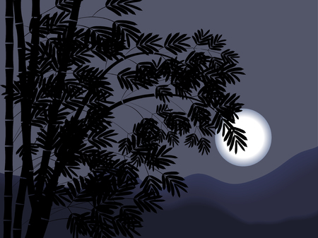night view with bamboo and full moon Ilustrace