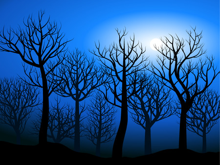 forest night landscape with bare trees Ilustrace