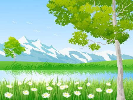river at mountain with flowery green meadow Banque d'images - 128375809