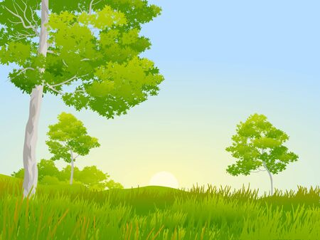 green savana with trees and grass Stock Vector - 128375804