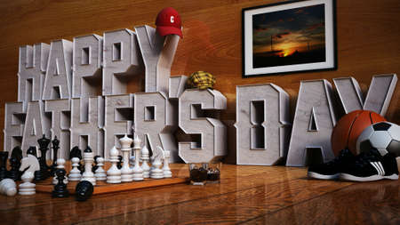 photo realism: 3D Rendering Image of Happy Fathers Day Stock Photo