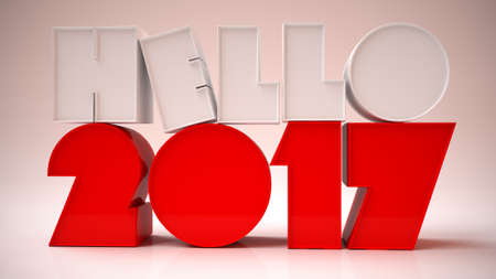 photo realism: 3D Rendering Image of Hello 2017 with white background
