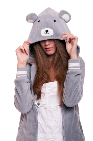 hoody: Teenager girl or young woman in funny grey hoody isolated on white