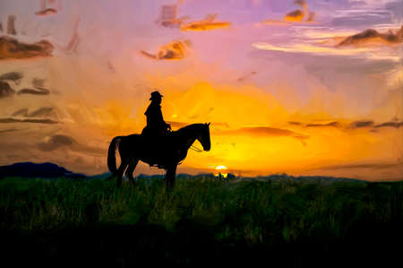 Montana cowboy on the range at first light digital oil painting Stock fotó