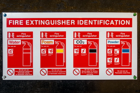 Fire extinguisher identification sign pinned to the back of a black painted wooden door