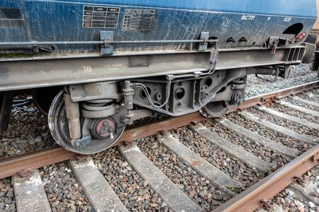 Freight train with derailed wheel set Stock fotó