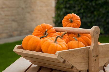 Pumpkins in wooden basket