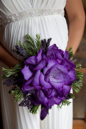 purple dress: Wedding Bouquet Stock Photo