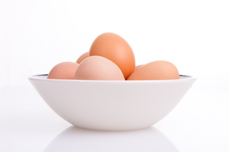Six eggs in a bowl Imagens