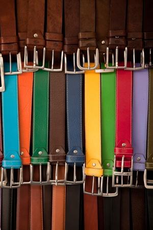Leather belts Imagens