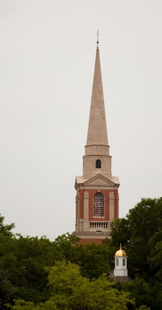 A church spire and small gold topped dome emerging from trees Imagens