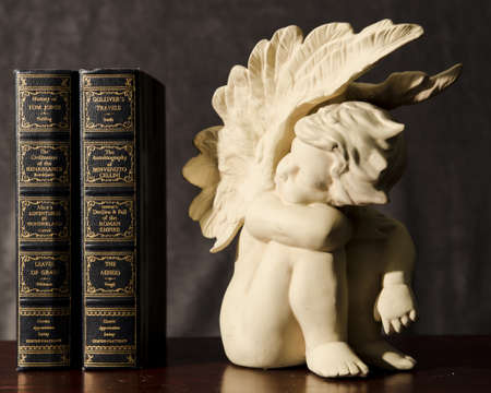 A ceramic angel looking with curiosity at some books