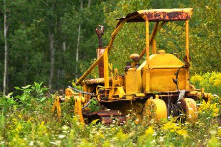 rusting: A rusting abandon yellow bull dozer.