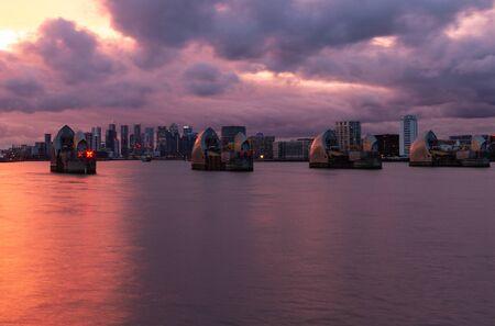 Thames Barrier - Burning sky just after sunset