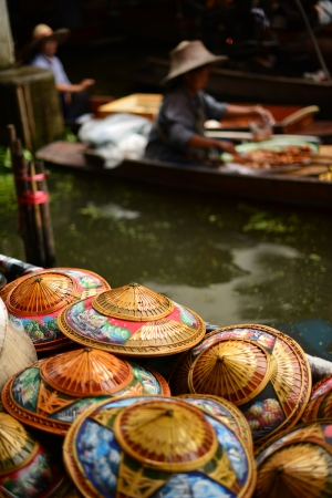 Thailand style colorful conical hat by the float Market Bangkok Stock Photo - 18326747
