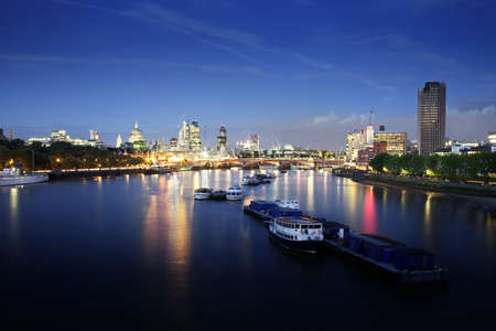 places of interest: City of London skyline at night. Stock Photo