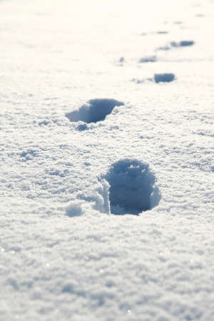 dint: Freshly fallen snow with footprints Stock Photo