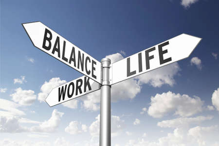 work life balance: Conceptual signpost, which direction to take? Stock Photo