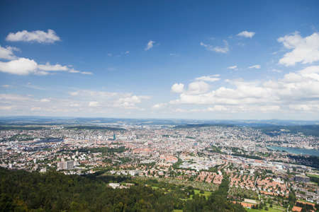 urban idyll: View of the city of Zurich from Uetliberg hill. Stock Photo