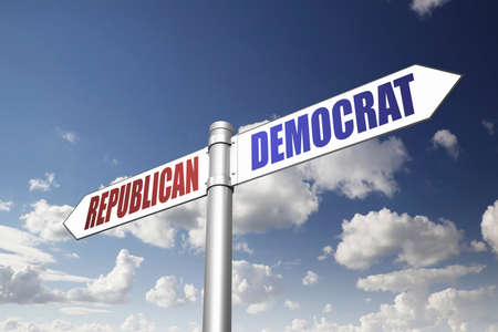 republican party: Conceptual signpost, which direction to take? Stock Photo