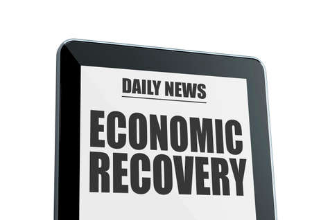 economic recovery: Modern tablet isolated on white