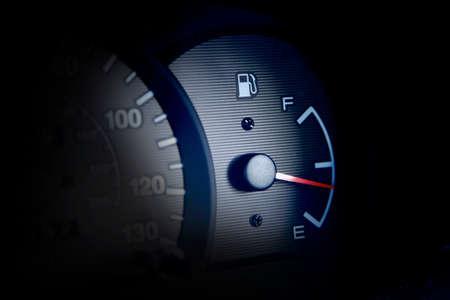 Fuel gauge towards empty.