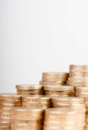 british money: Pile of UK pound coins Stock Photo