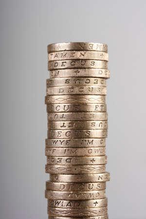 pound coins: Pile of UK pound coins Stock Photo