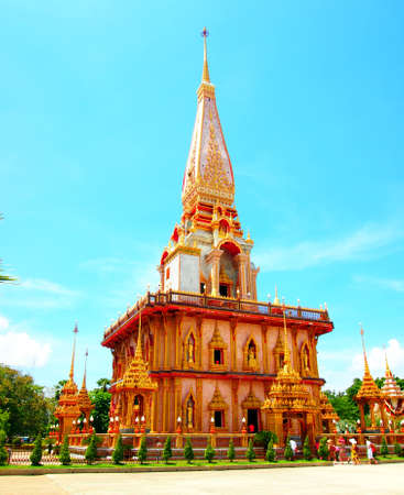 A Beautiful Pagoda at Wat Chalong with Blue sky on clear sky day, Phuket, Thailand photo