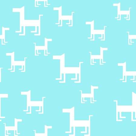 doggy: Animal seamless vector pattern of dog silhouettes. Endless texture can be used for printing onto fabric, web page background and paper or invitation. Doggy style. White, blue colors.